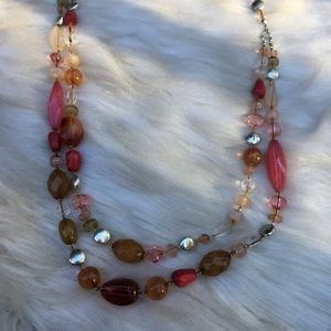Avon multi-strand pink orange and silver necklace